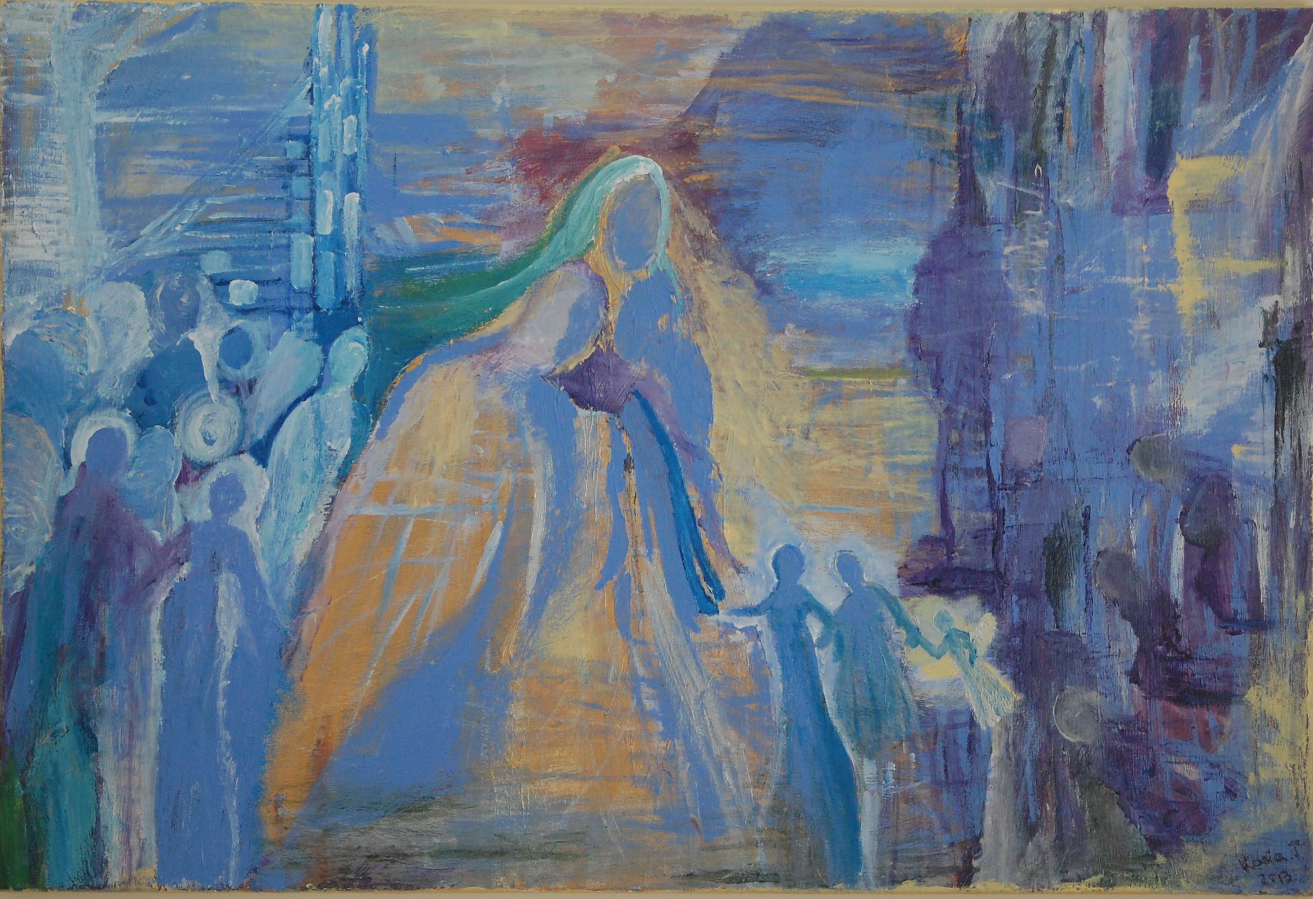 "Toczydlowska- ""Helping hand""-acrylic on canvas-24""x36""-$950"